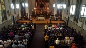 photo of fall OLSH student-athlete blessing Mass taken from the OLSH Chapel choir loft