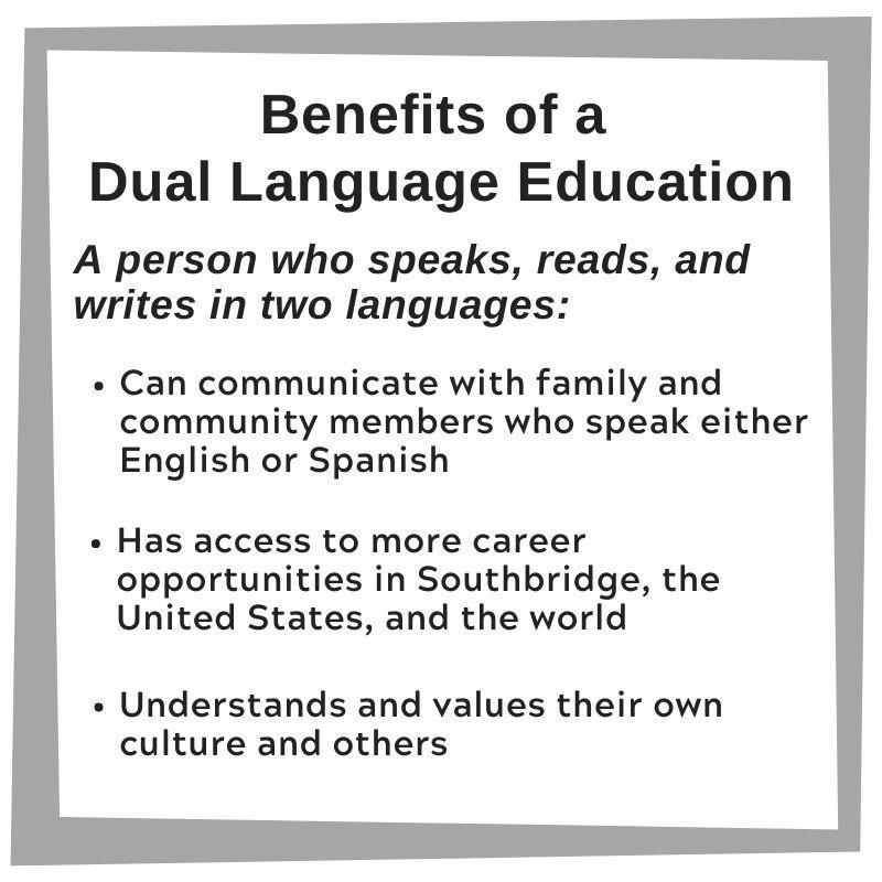 Graphic with a list of the benefits of dual language education