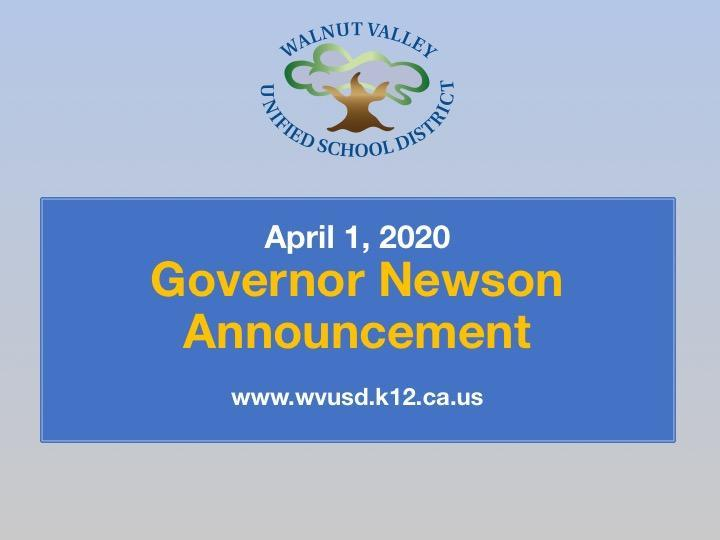 Governor Newsom Announcement Featured Photo