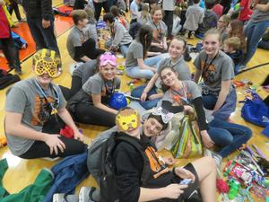 Teams enjoy trading pins and other items with teams from around the state.