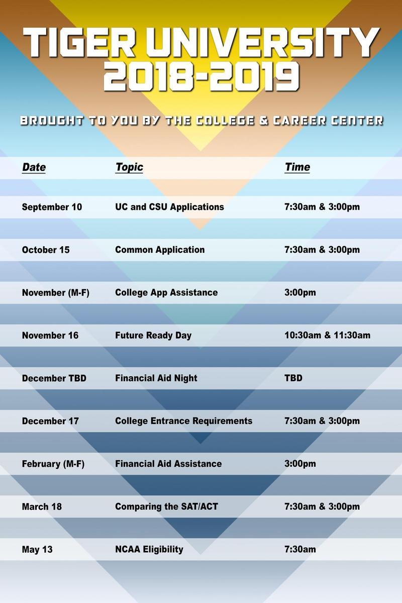 Tiger University (12/17/18): College Entrance Requirements Workshop Thumbnail Image