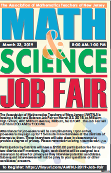 Math & Science Job Fair flier March 23