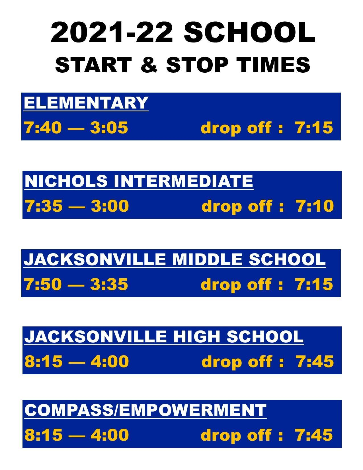 campus start stop times
