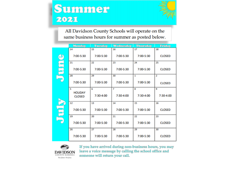Summer Schedule 2021