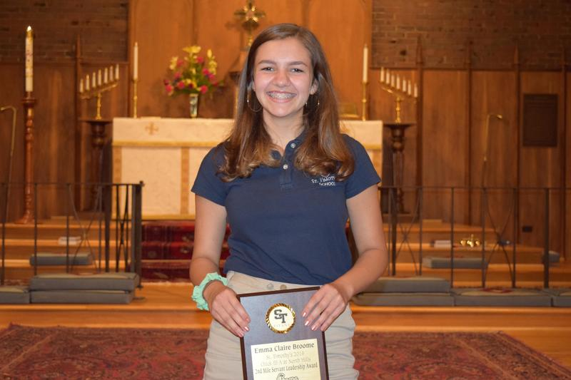 Eighth grader Emma Claire Broome after receiving the award.