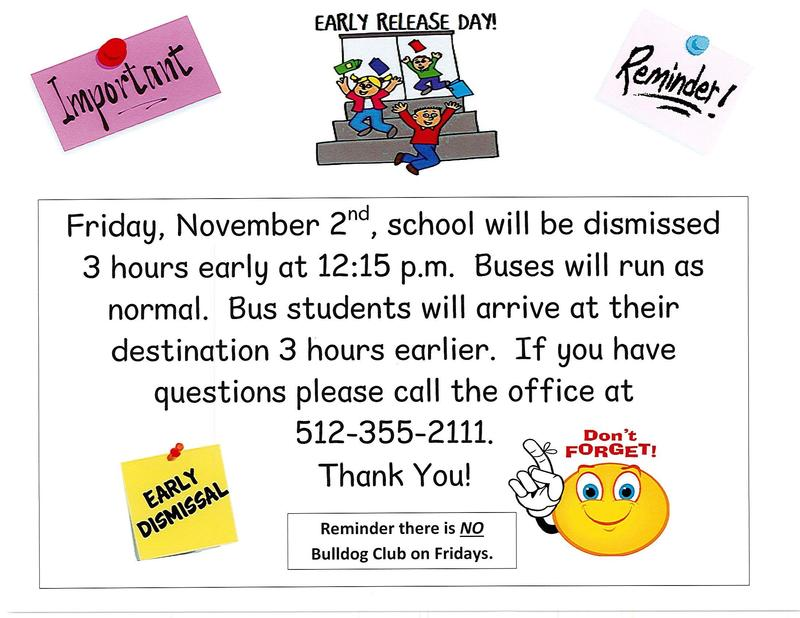 3 Hour Early Release - Friday November 2nd at 12:15 p.m. Thumbnail Image