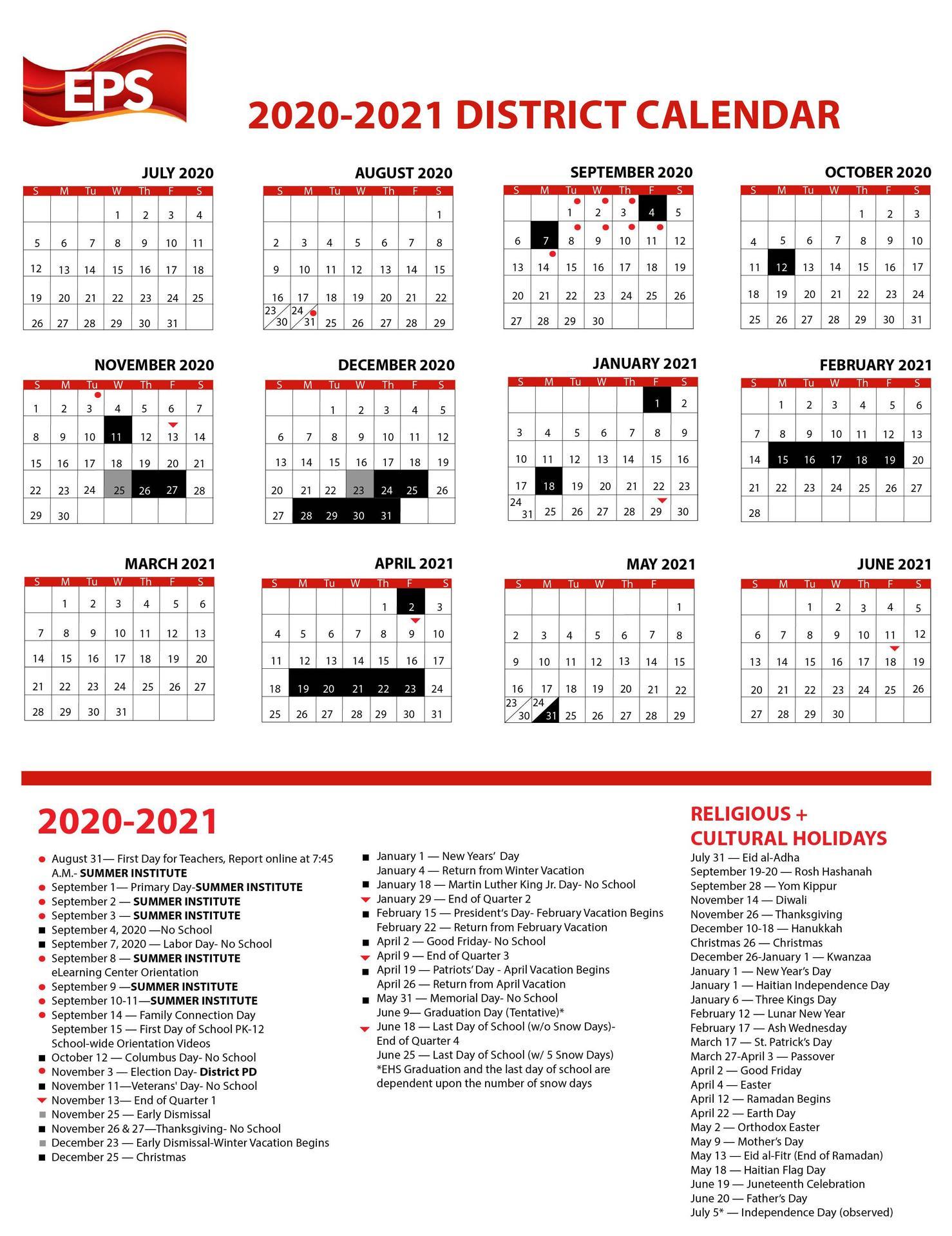 A calendar, 2020-21, all text