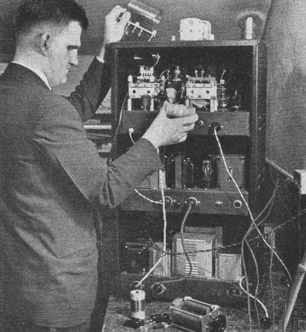 A fine example of the excellent workmanship seen at the school is the instructor's pet transmitter. The rig was built entirely by Mr. Gunderson, including drilling of chassis and panels.