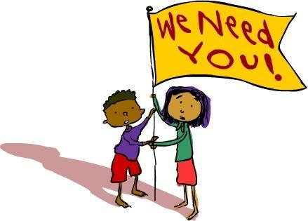 Clipart of children holding a flag that says, 'We Need You.'