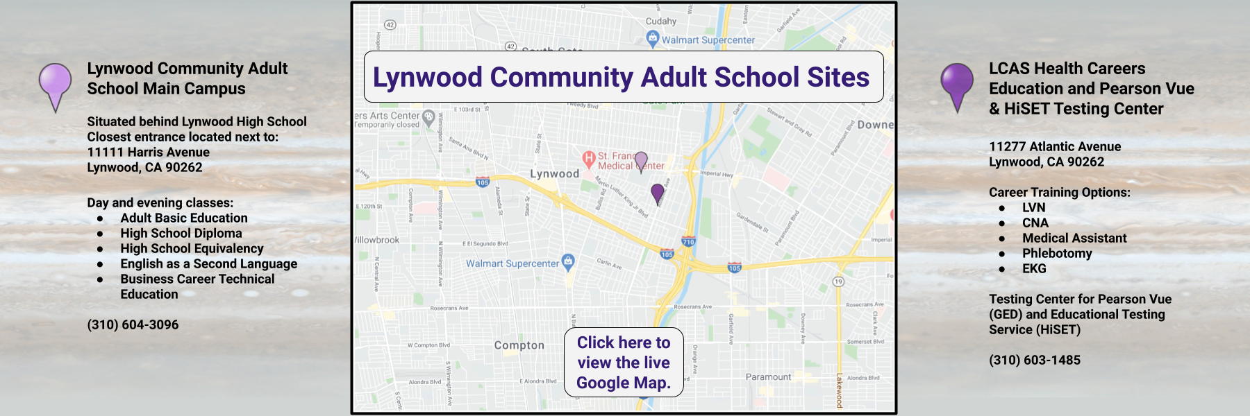 Clickable Map of Lynwood Community Adult School sites