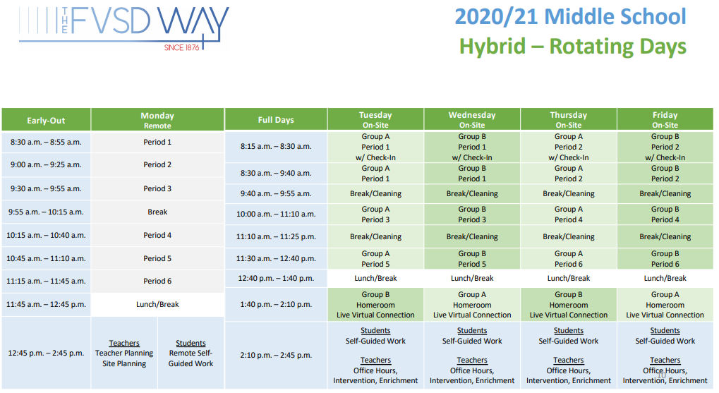Middle School Hybrid Schedule (please call 714-843-3200 if you need assistance)
