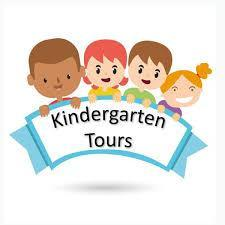 a photo of four cartoon children holding a banner saying kindergarten tours