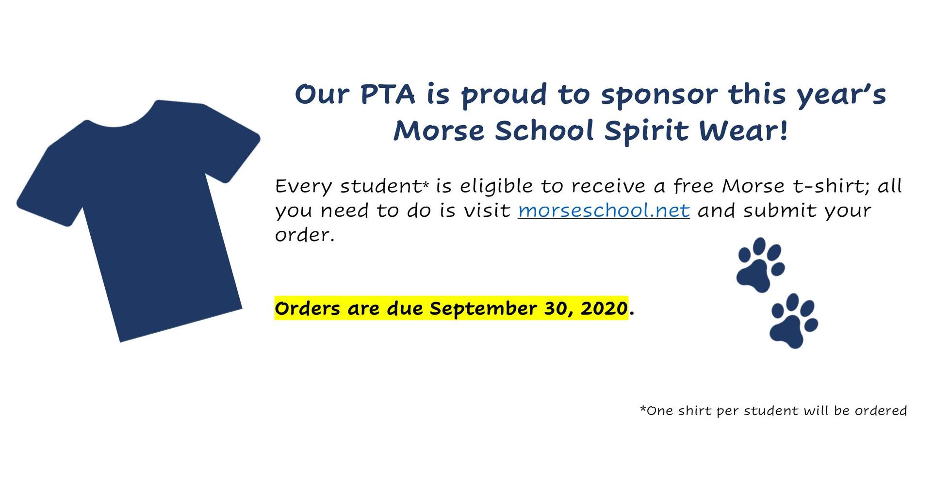 Our PTA is proud to sponsor this year's Morse School Spirit Wear!