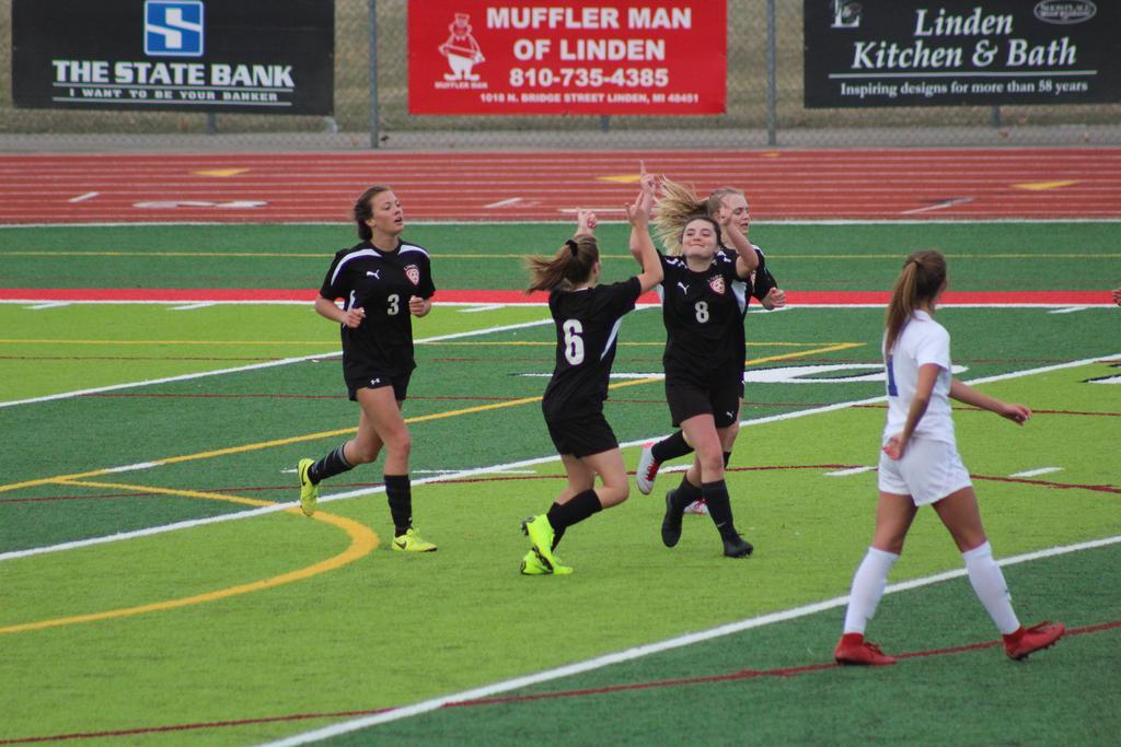Female soccer players celebrating on a soccer field