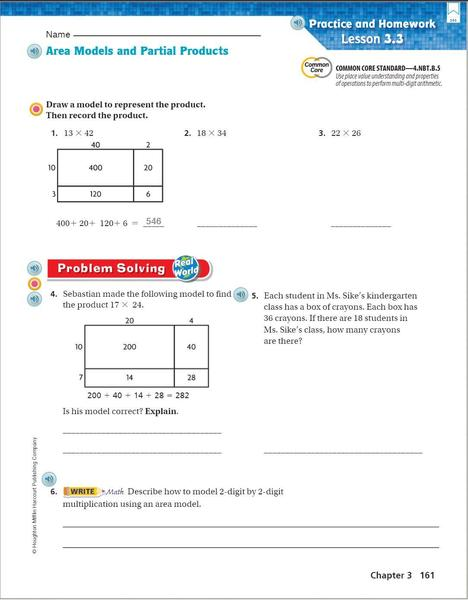 Go math p. 161 Area Model Independent Work.JPG