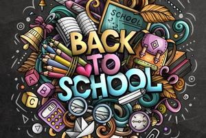 Back to School sign with school supplies