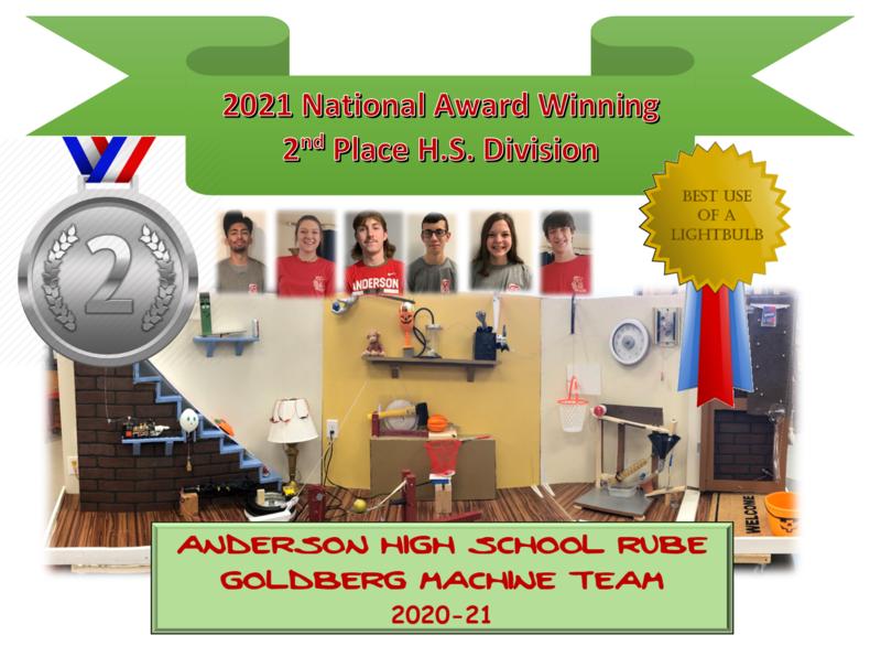 2021 AHS Rube Goldberg team 2nd place certificate