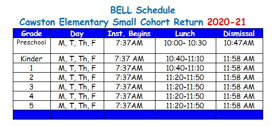 Small Cohort Bell Schedule