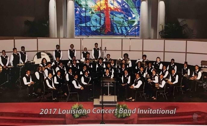 a photo of the Baker High School Band at the 2017 Louisiana Concert Band Invitational