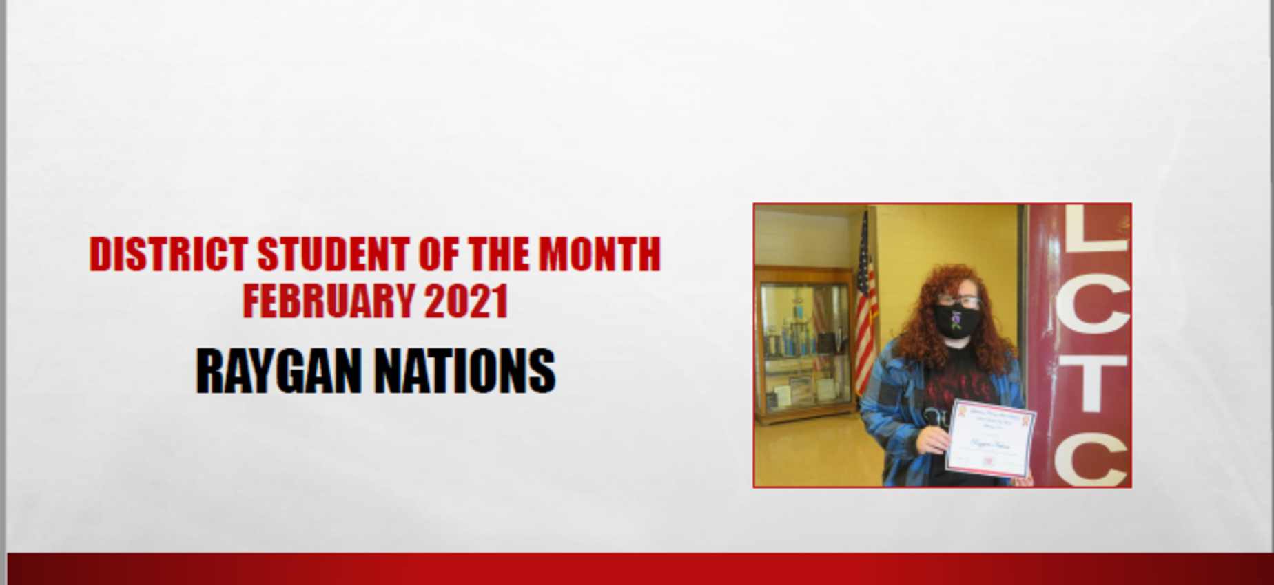 February 2021 District Student of the Month Raygan Nations
