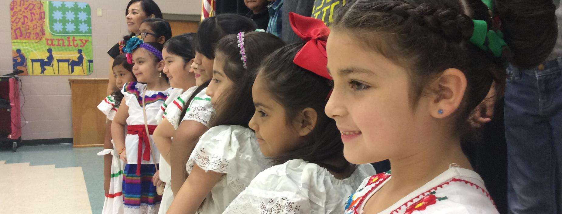 Picture of students dressed in mexican attire
