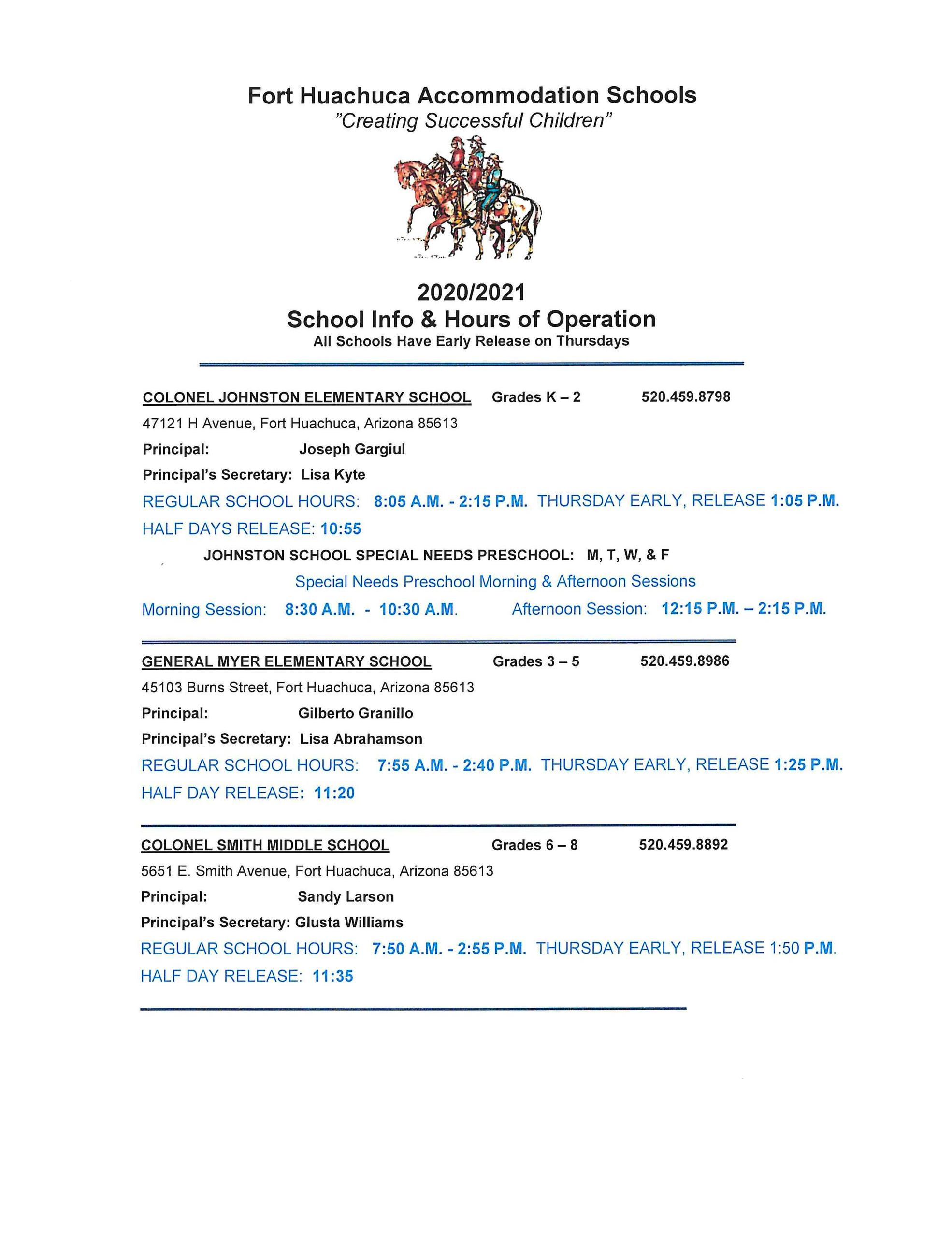 School Information and Hours