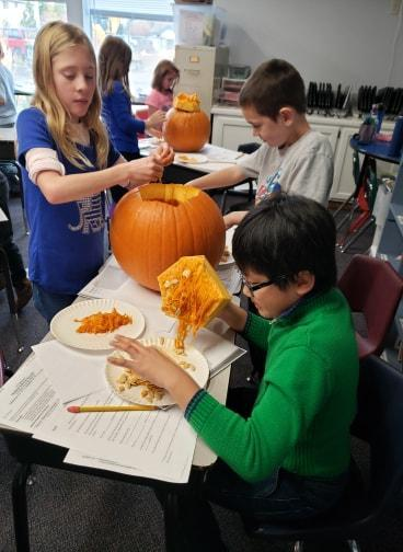 3rd Grade Students learning with Pumpkins
