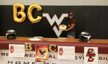 Emme Martinez from West Valley signing her letter of intent to play softball for Boston College