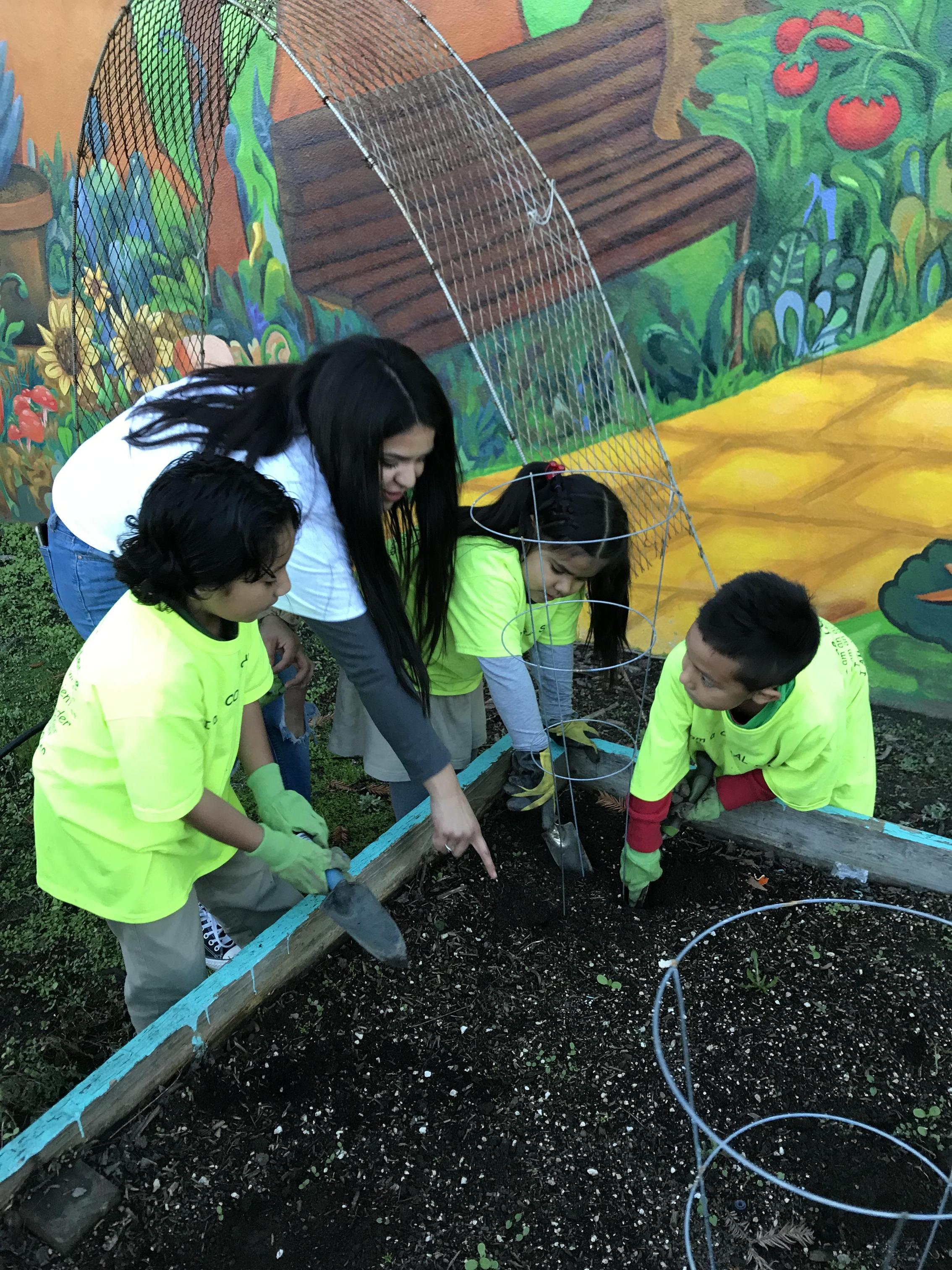 A volunteer working with students in the garden
