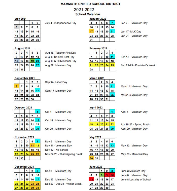 Small photo of school calendar