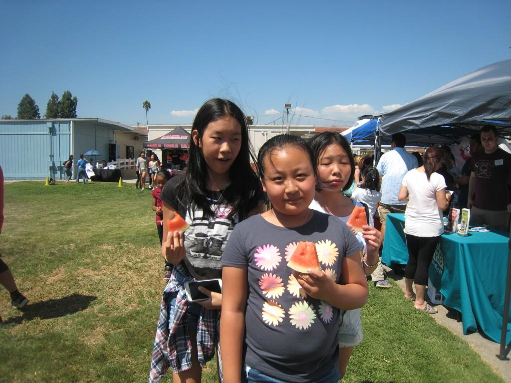 Marguerita students having some watermelons during the picnic event.