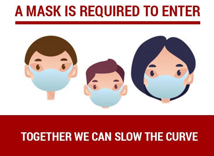 image of three faces wearing masks with reminder to wear a mask at all time