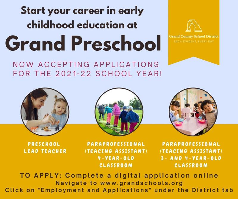 We're hiring educators now for our Grand Preschool team! Featured Photo
