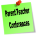 Green Postit with the words: Parent/Teacher Conference
