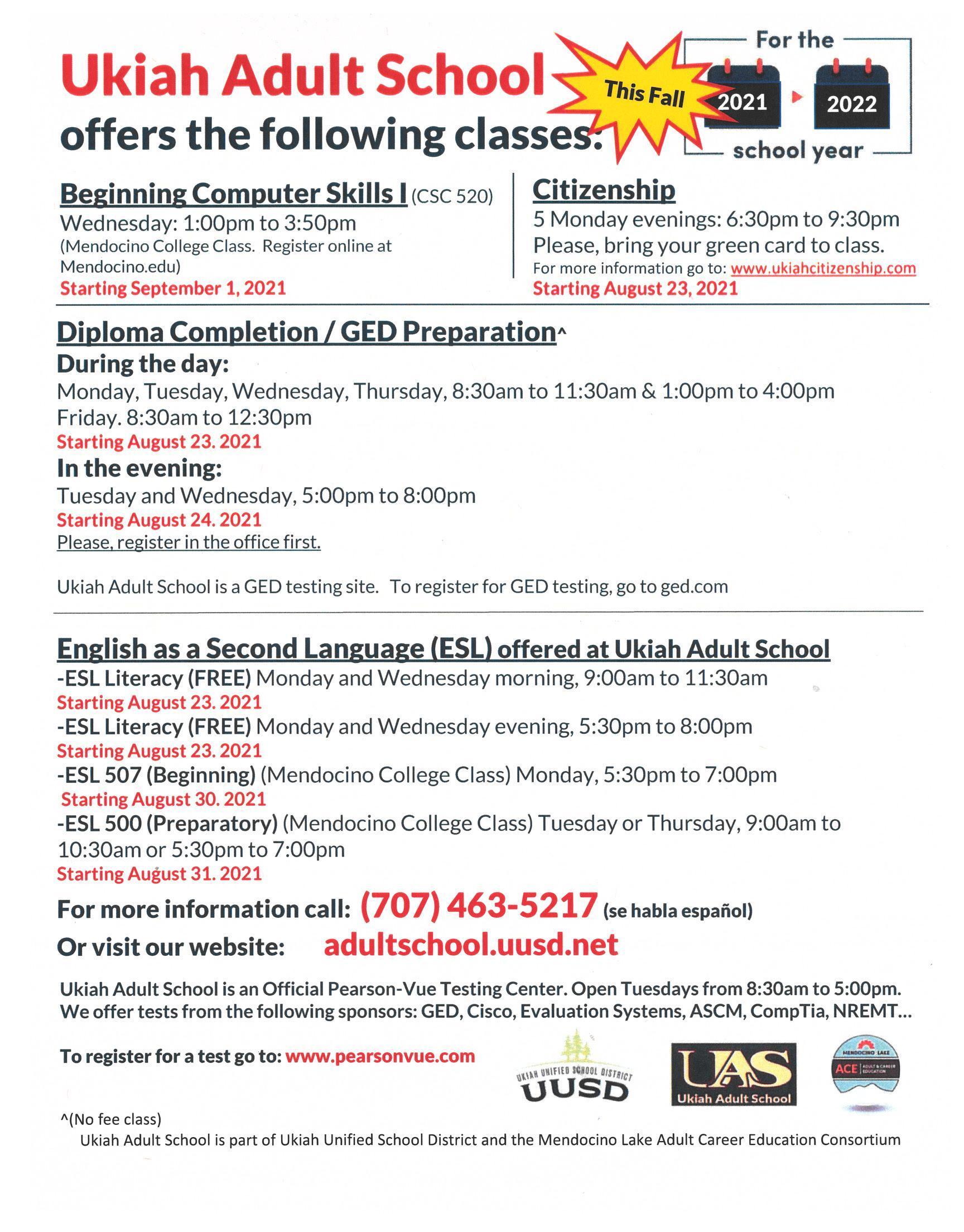 Ukiah Adult School Fall 2021 course list poster