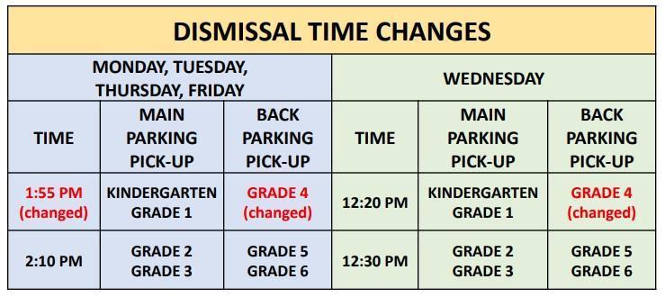Dismissal Time Changes