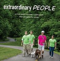 Extraordinary People cover pic-group of people and 2 dogs walking