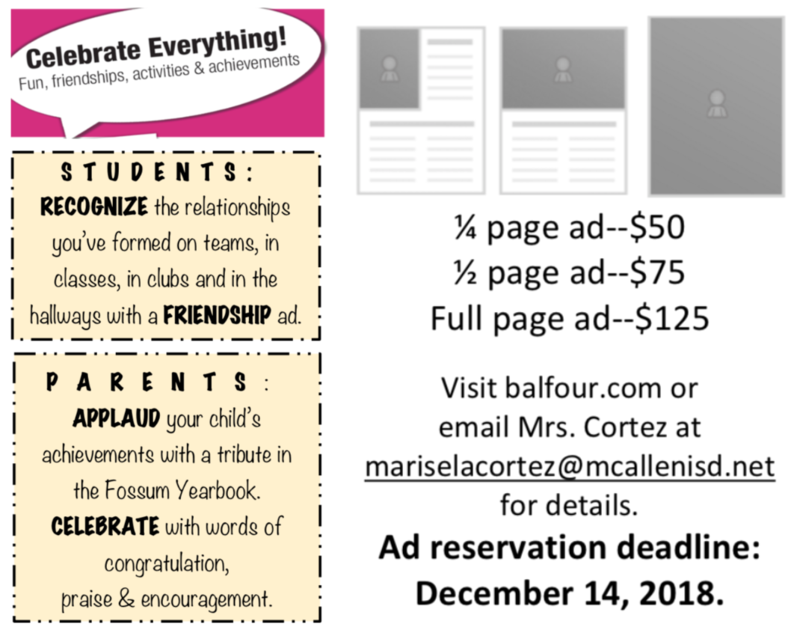 Student Yearbook Ad Reservation