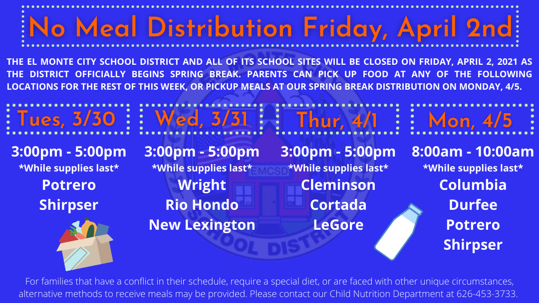 No Meal Distribution on Friday, April 2 Graphic
