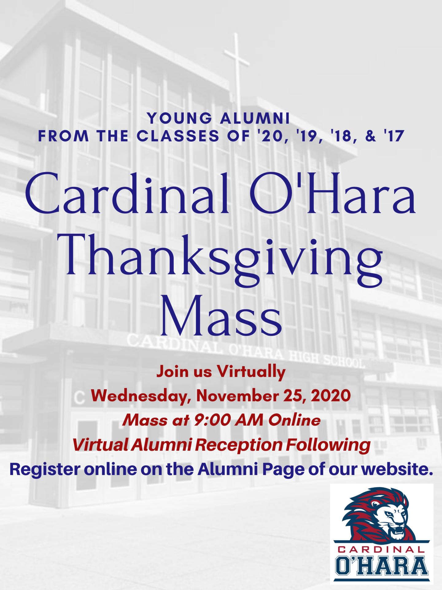 2020 Thanksgiving Alumni Mass & Reception