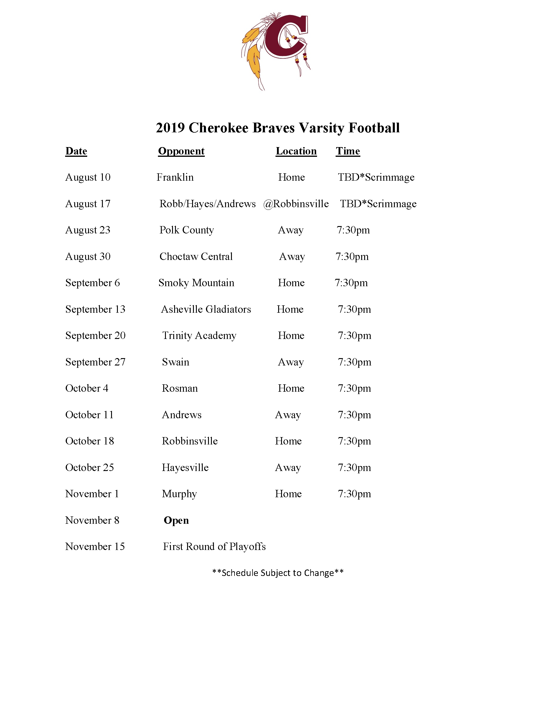 2019-2020 Football Schedule