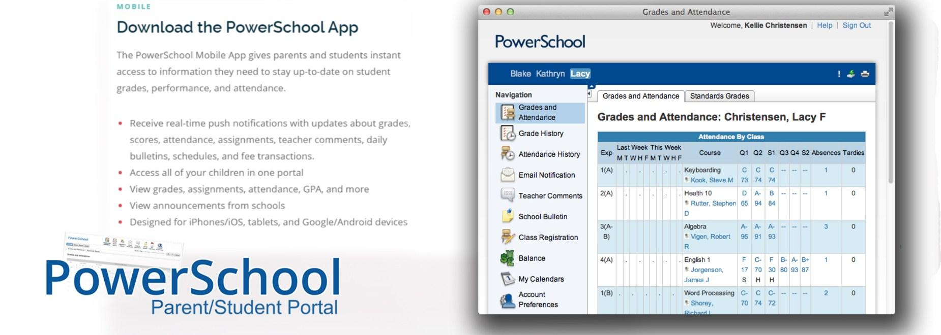 PowerSchool log on screen