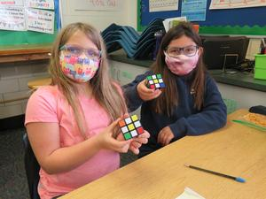 Lee Elementary students master the Rubik's Cube.