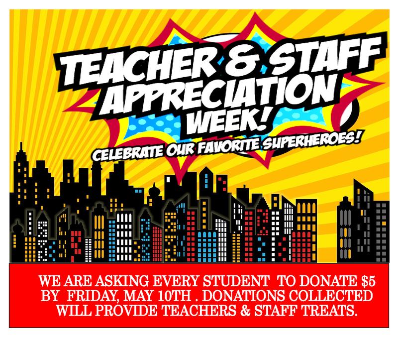 Teacher and Staff appreciation week informational graphic