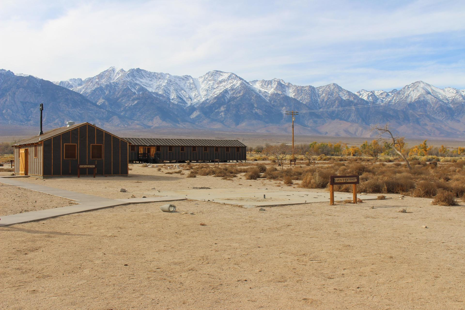 Barracks at Manzanar and Sierras