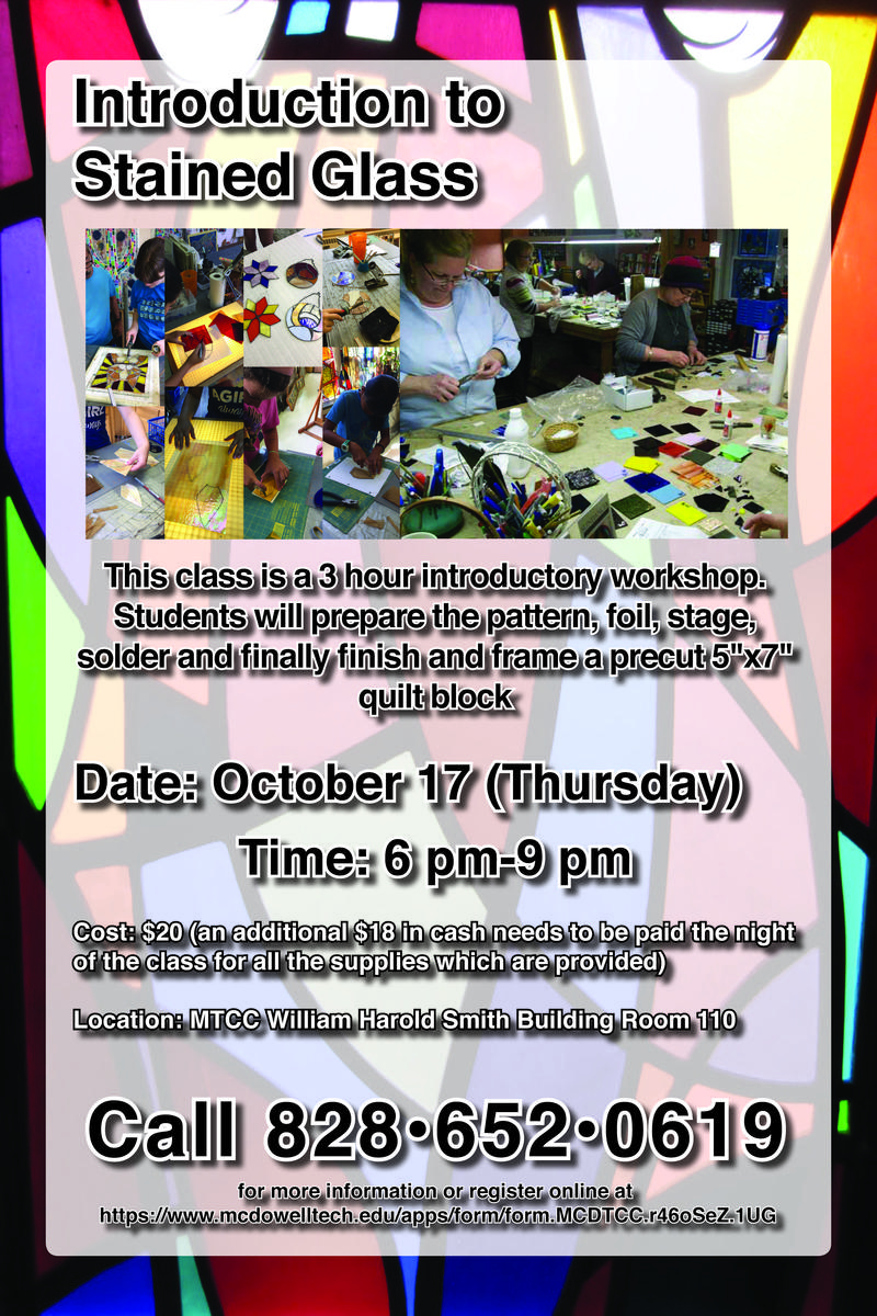 flyer for stained glass class