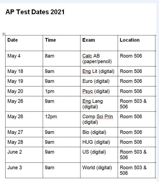 AP TESTING DATES & TIMES Thumbnail Image