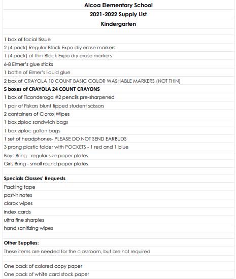 Kindergartn supply list