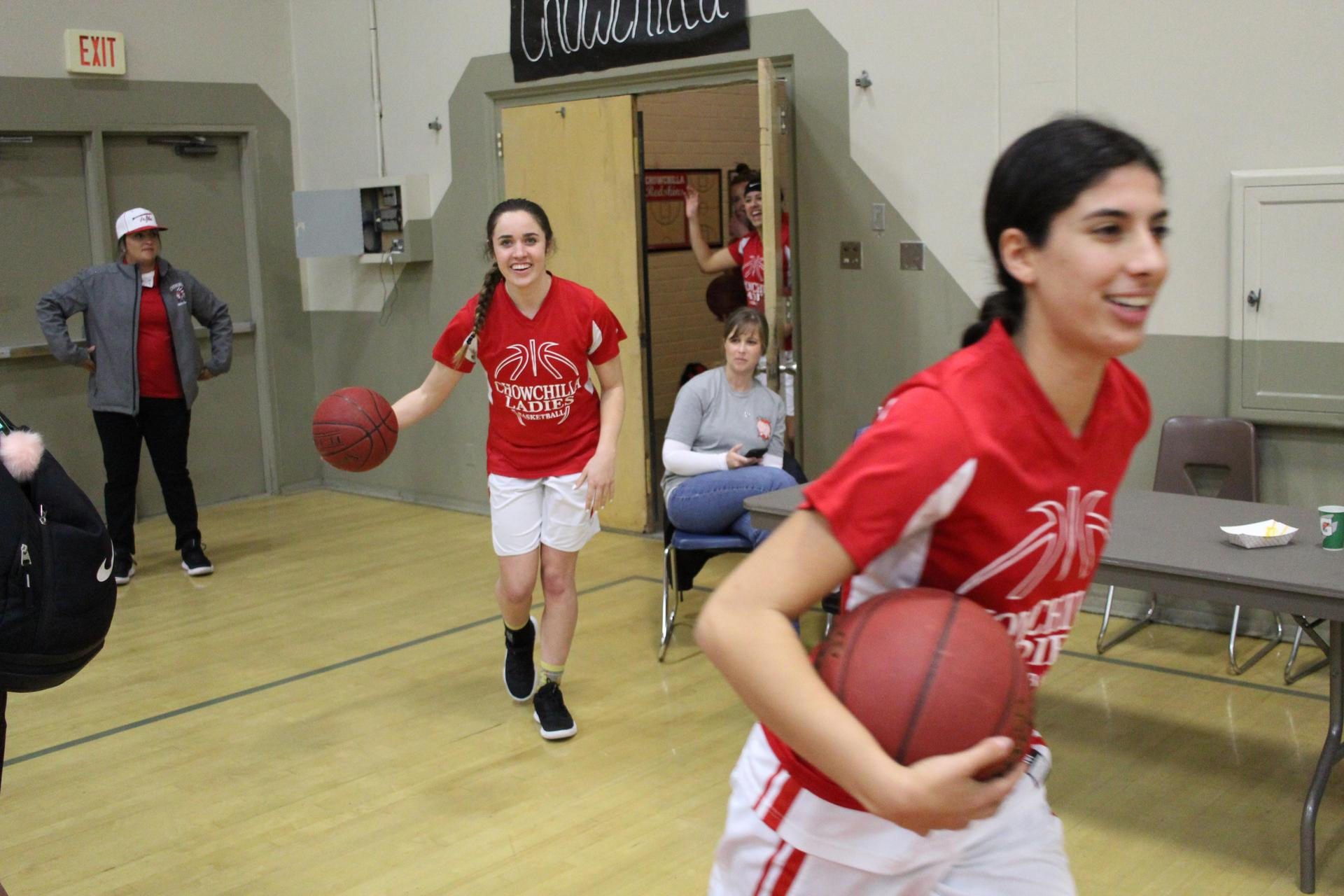 Varsity Girls Basketball pregame before playing Sierra