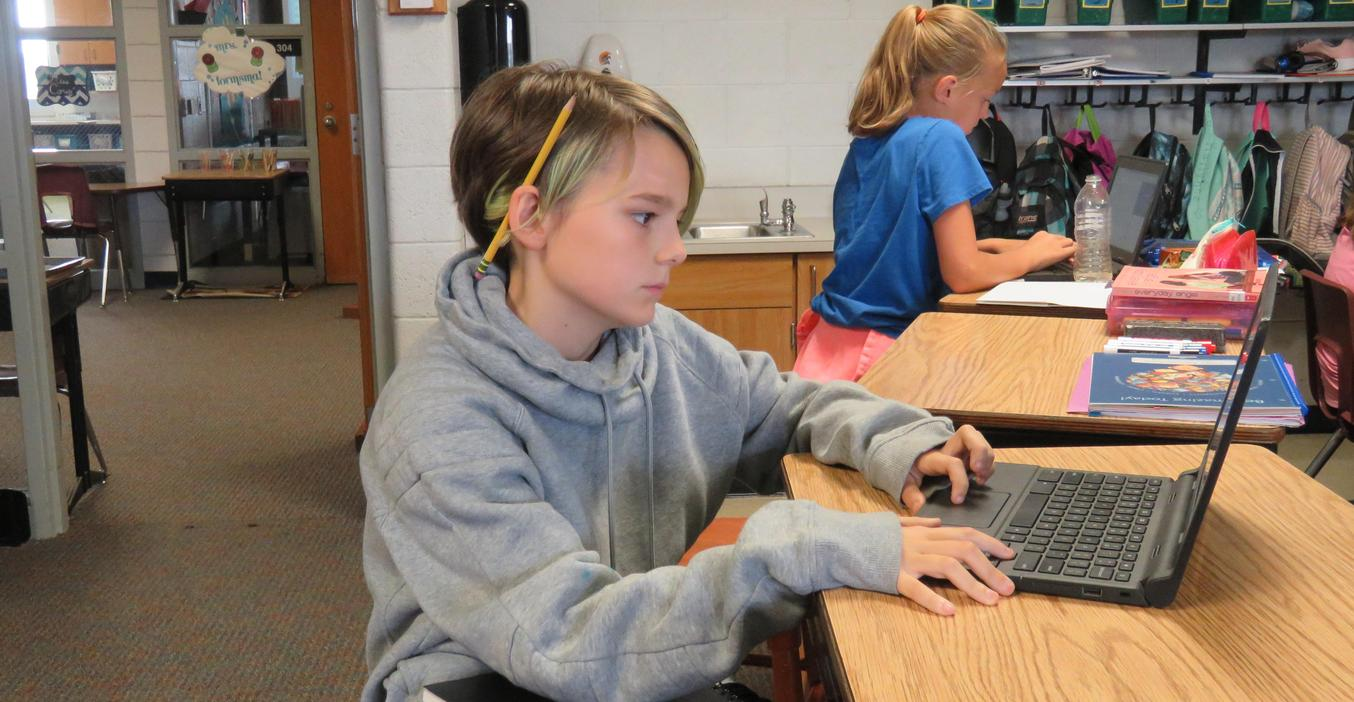 Students work on their blogs.